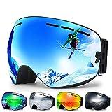 Zerhunt Skibrille, Snowboard-Schutzbrillen mit Anti-Nebel,UV-Schutz,Winddicht Skibrille für Wintersportarten, Skifahren, Skaten, Damen,Herren,Brillenträger (Silbe) r