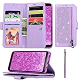 Zipper Wallet Case for Samsung Galaxy S10 Plus Case Luxury Bling Glitter 9 Card Slots Case Premium PU Leather Flip Cover Shockproof Soft TPU Back Bumper Case Cover Sparkly Girly Handbag-Purple