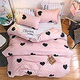 Morbuy Bettwäsche Bettbezug Set, 4 Teilig Bettbezug Bettwäsche 100% Mikrofaser Gemütlich Bettbezug -Set,1 Bettbezug+1 Spannbettlaken +2 Kissenbezug (200x230cm+230x230cm+2x45x74cm, Rosa Liebe)