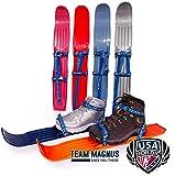 Kinderski für Tricks, Lernen und Spaß im Schnee für Größe 24-41 - flexibel, bequem u. sicher an allen Schuhen/Stiefeln - hochwertigen Anschnallriemen - ideale Plastik-skis für Kinder (Rot)