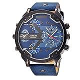 Rcool 2017 Luxus Edelstahl Uhr Leder Datum Analog Quarz Herren Armbanduhren Blau für Männer