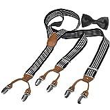 HBF Hosenträger mit den 6 starken Clips und Fliege KIT mehrfarbig elastisch Y-formig Länge für Damen und Herren Playshoes in verschiedenen Designs (Gestreift)