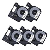 "5 Pack Compatible DYMO D1 45013 S0720530 Black on White Label Tape for DYMO LabelManager 160 220P 280 PnP 360D 420P (1/2"" x 23' 12mm x 7m)"