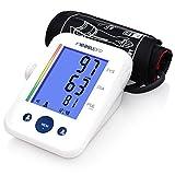 MeasuPro Digitaler Oberarm-Blutdruckmonitor und Herzfrequenzmessgerät mit zwei Benutzer-Modi, Indikator für Pulsrhythmusstörungen, farbige Warnanzeige bei Hypertonie, Tischausführung und Speicherabruf, CE-genehmigt, FDA-Zulassung