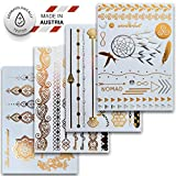Temporäre Metallic Klebe-Tattoos, versch. Sets Dermatologisch getestet & Made in EU (4er Set mit 46 Motiven)