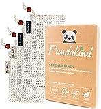 Pandakind [4x] plastikfreie Sisal-Seifensäckchen (inkl. s/w- Labels zum Unterscheiden) - 100% natürliches & ökologisches Körper-Peeling - Nachhaltige Seifenbeutel für Seifenreste