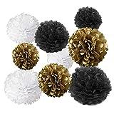 Nobby Gold Fortune 18 Seidenpapier-Pompons zum Aufhängen, Blumen-Ball, Hochzeit, Party, Outdoor, Dekoration, Seidenpapier, Bommel, Blumen (Gold & Schwarz & Weiß)
