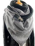 Tuecherfee/Pepita Schal/Dreieckstuch in schwarz/weiß / XXL Tuch/Schal mit Verschluss