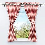 HongYa 4-TLG. Set Karo-Muster Vorhangschals Küche Gardinen Vorhänge mit Raffhalter H/B 120/80 cm Rot