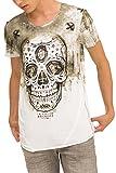 trueprodigy Casual Herren Marken T-Shirt mit Aufdruck, Oberteil cool und stylisch mit Rundhals Ausschnitt (Kurzarm & Slim Fit), Shirt für Männer Bedruckt Farbe: Khaki 1073111-0629-L