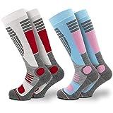 Damen Skisocken (2Paar) mit Polsterung in verschiedenen Farben (39/42, Blau-Pink)