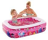 Happy People 16222 Trolls Kinderpool mit aufblasbarem Boden, 1 Wasserauslassventil, 132 x 94 x 36 cm, 128 x 88 x 33 cm