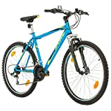 BIKE SPORT LIVE ACTIVE Bikesport Thunder 26 Zoll Fahrrad Mountainbike Herren-Fahrrad Jungen-Fahrrad Shimano 18 Gang (Blau matt, M)