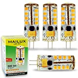 MAILUX LED G4S11059 | G4 | Stift | 3W | 300lm | 3000K | 27 SMD | dimmbar | warmweiss | 4er Haushaltspack