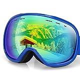 G4Free OTG Skibrille, Snowboardbrille, Antibeschlagbeschichtung, sphärisches Dual-Objektiv für Männer, Frauen und Jugendliche, 100% UV400-Schutz., Blue Frame Gold Lens