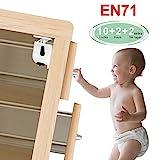LeaderPro Kindersicherung Schrank Magnet ohne bohren 10 Schlösser+ 2 Schlüssel Schranksicherung Baby für Schubladen Schrank (Unsichtbar) (Kleben) (Akzeptable Zugkraft beträgt 25 kg) weiß