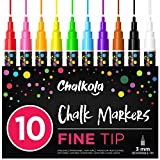 Kreidestift – 10er Pack neonfarbene kreidemarker - Für Whiteboard, Kreidetafel, Fenster, Tafel, Bistros – 3mm Kugelspitze