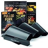 Rawford Grillmatte - Universell einsetzbare Grillmatten für Grill & Backofen - 0,4mm Dicke Grillfolie geeignet für Holzkohle-, Elektro- & Gasgrill - Spülmaschinenfeste BBQ Matte (1ner Set)