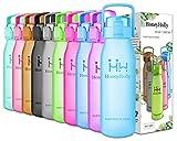 HoneyHolly Sports Trinkflasche Wasserflasche - 32oz/1L & 50oz/1.5L Top klick Open, Non Toxic BPA Free & Eco-Friendly Tritan, Für Sport im Freien/Outdoor Fitness Training(Hellblau, 50oz-1.5L)