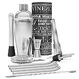 VINENCO Cocktailshaker Set Cocktailrezepte Ebook – Premium Edelstahl Bar Cocktailset: Professioneller Cocktail Shaker/Martinishaker / Mixer mit Sieb, Messbecher, Barlöffel, Gabel + Barstößel