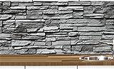 1a PREMIUM Küchennischen Deko-Set für die Küche in Steinoptik - Spritzschutz - Wandschutz - Fliesenspiegel - Wandtatoo - wiederablösbar - Motiv Naturstein grau