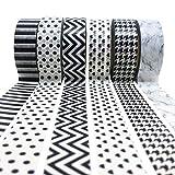 PremiPro Washi-Tape Set Schwarz Weiß 10 Meter Masking-Tapes oder Dekoband zum Beispiel für Hochzeit 6er | Gratis Lesezeichen