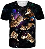 uideazone 3D Print Space Galaxis Cat T Shirts Tee Tops for Jungen