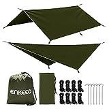 ENKEEO Zeltplane 3m x 3m - Camping Zelt Tarp Tragbare Hängematte Regenschutz Regen Fliegen Wasserdicht Sonnenschutz für Zelt Wanderungen Camping Picknick, Grün