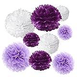 18 Seidenpapier-Pompons von Gold Fortune, Blumenkugeln, für Hochzeiten, Partys, als Dekoration im Außenbereich, Bastelset Violett / Weiß