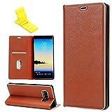 SXUUXB Hülle für Galaxy Note8, Flip Leather Wallet Case mit Kartenschlitz & Standfunktion Schutz Hülle für Samsung Galaxy Note8 6.3 Zoll (Braun) + 1 x Freie Halterung (Farbe Zufällig)