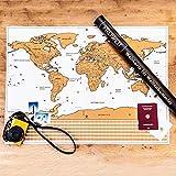 FREIWEIT Große Weltkarte zum Rubbeln - Rubbelweltkarte - Landkarte zum Freirubbeln - Premium Qualität - bereiste Länder freirubbeln - tolles Geschenk für Weltenbummler (83cm x 60cm)