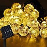 Nasharia LED Solar Lichterkette Aussen 8M 40er LED 8 Modi IP65 Wasserdicht Warmweiß Außerlichterkette Deko Beleuchtung Kugel mit Lichtsensor für Garten,Hochzeiten, Partys[Energieklasse A+++]