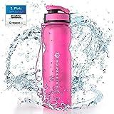 Boundletics Trinkflasche 1L - Wasserflasche BPA frei - Tritan Sportflasche Black