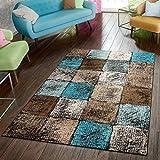Paco Home Designer Teppich Wohnzimmer Ausgefallene Farbkombination Karo Türkis Braun Creme, Grösse:80x150 cm
